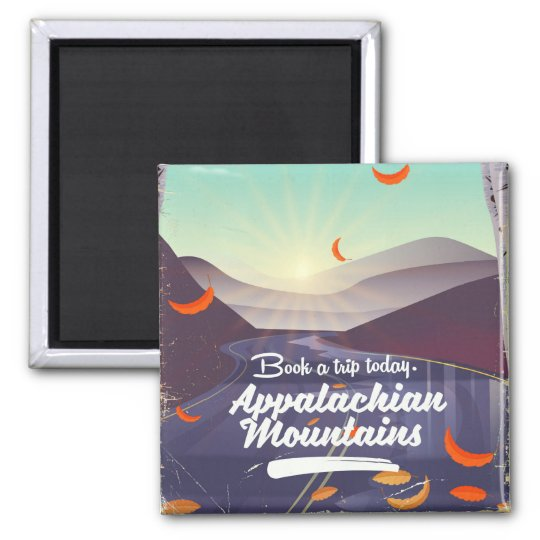 Appalachian Mountains vintage travel poster Square Magnet