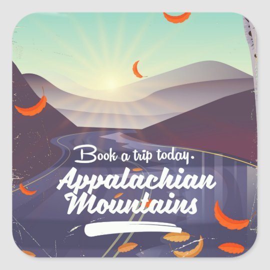Appalachian Mountains vintage travel poster Square Sticker