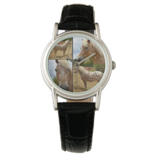 Appaloosa Horse Photo Collage Black Leather Watch