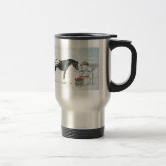 Appaloosa horse with snowman, rectangular travel mug