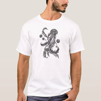 Apparel printed with hand drawn jellyfish T-Shirt