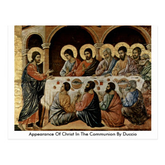 Appearance Of Christ In The Communion By Duccio Postcard