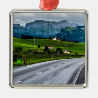 Appenzell Alps during a rain storm - Switzerland Silver-Colored Square Decoration