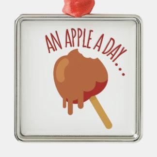 Apple A Day Silver-Colored Square Decoration