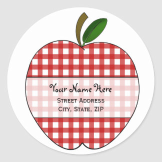 Apple Address Label - Red Gingham