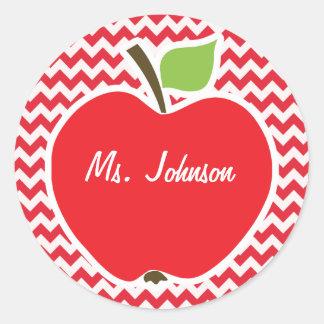 Apple; Alizarin Crimson Chevron Round Sticker