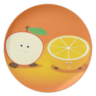 Apple and Orange character plate