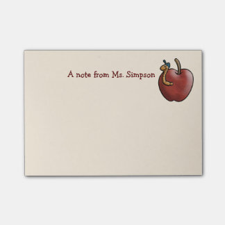Apple and Worm for the Teacher Post-it® Notes
