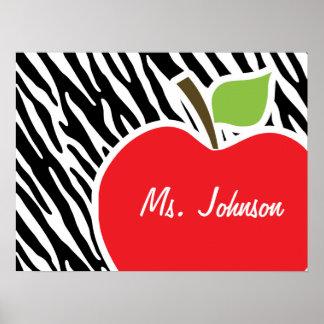 Apple; Black & White Zebra Stripes Poster