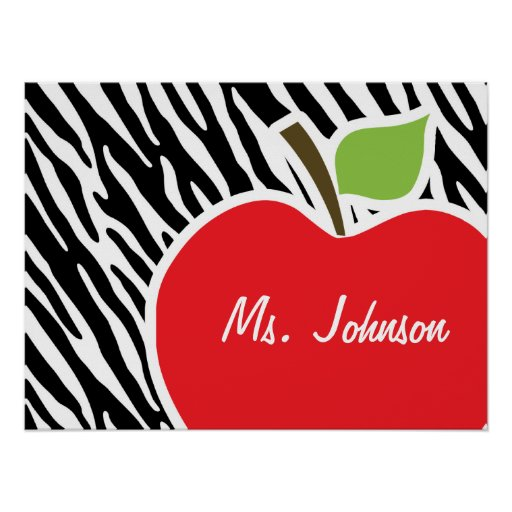 Apple; Black & White Zebra Stripes Posters