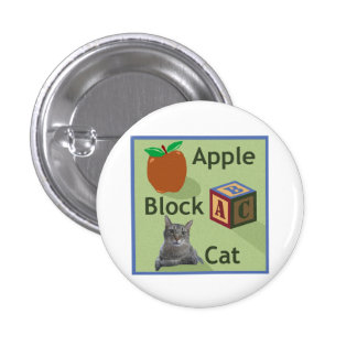Apple Block Cat Button