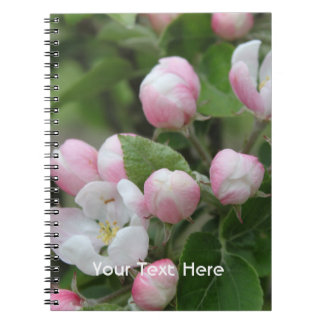 apple blossom and green leaves notebook
