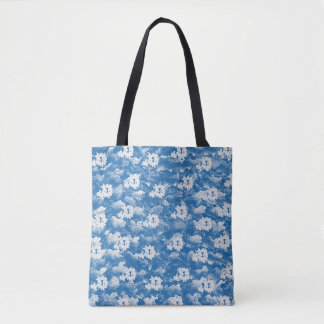 APPLE BLOSSOM BLUE TOTE BAG