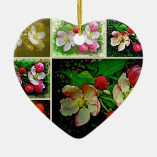 Apple Blossom Collage - Enhanced Digital Photo Ceramic Heart Decoration