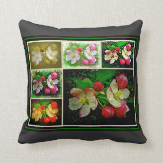 Apple Blossom Collage - Enhanced Digital Photo Throw Pillow