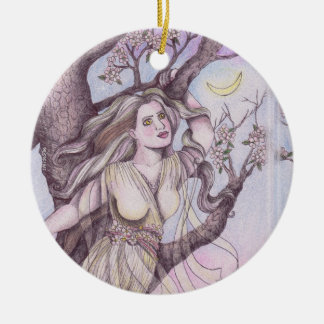 Apple Blossom Dryad Fairy Faerie Altar Art Ceramic Ornament
