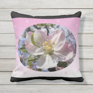 Apple Blossom Flower Throw Pillow
