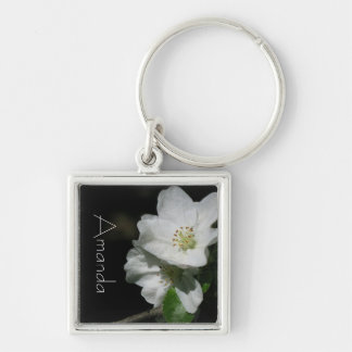 Apple blossom - Personalized w. Name - Silver-Colored Square Key Ring