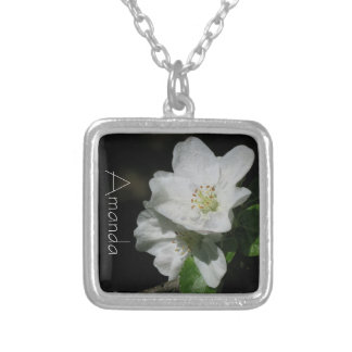 Apple blossom - Personalized w. Name - Silver Plated Necklace