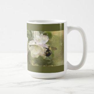 Apple Blossoms and Bumblebee Basic White Mug