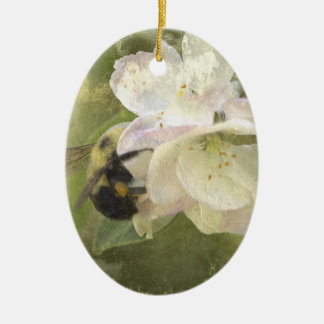 Apple Blossoms and Bumblebee Ceramic Oval Decoration