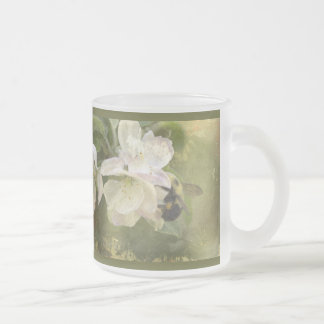 Apple Blossoms and Bumblebee Frosted Glass Mug