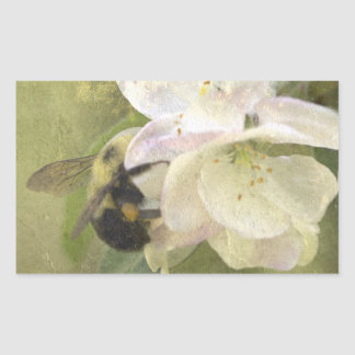 Apple Blossoms and Bumblebee Rectangular Sticker