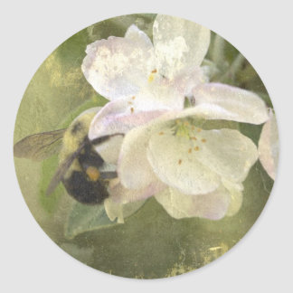 Apple Blossoms and Bumblebee Round Sticker