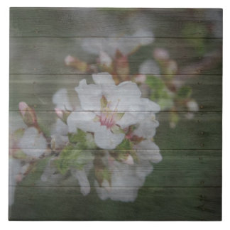 Apple Blossoms and Weathered Wood Ceramic Tile