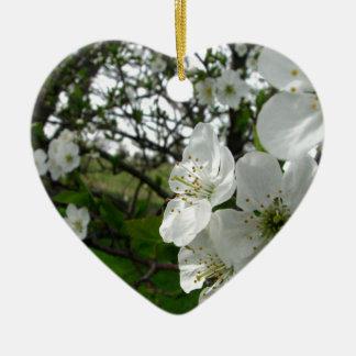 Apple Blossoms Ceramic Heart Decoration