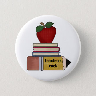Apple, Books, Pencil Teachers Rock 6 Cm Round Badge