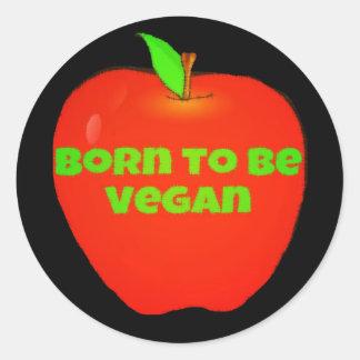 Apple born to be vegan classic round sticker