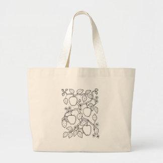 Apple Branch Line Art Design Large Tote Bag