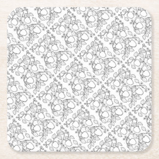Apple Branch Line Art Design Square Paper Coaster
