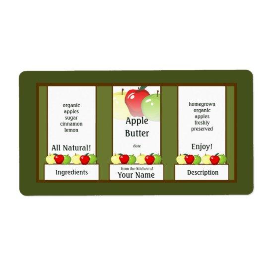 Apple Butter Canning Jar Label
