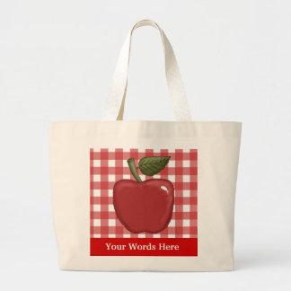 Apple cartoon add words tote bag
