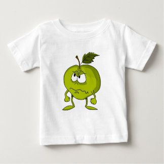 Apple cartoon character with a sad angry face baby T-Shirt