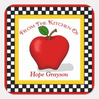 Apple & Checkerboard Kitchen Square Stickers