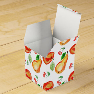 Apple, cheries and pears watercolor design favour boxes