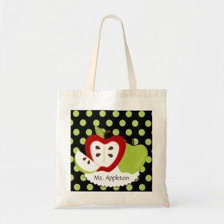Apple Dots Personalized Teacher Budget Tote Bag