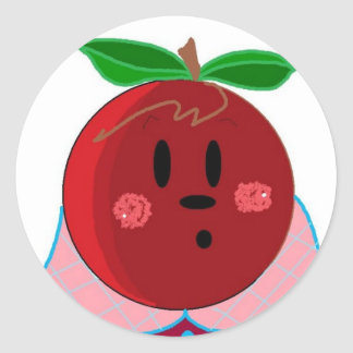 Apple Face  Girl Classic Round Sticker