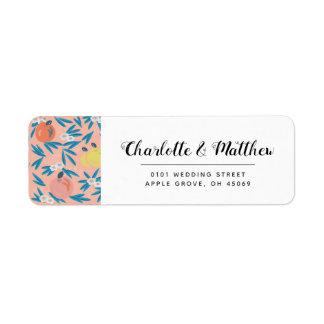 Apple Floral Coral Pink Navy Wedding Address Label