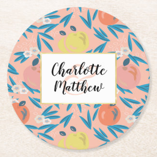 Apple Floral Coral Pink Navy Wedding Coaster