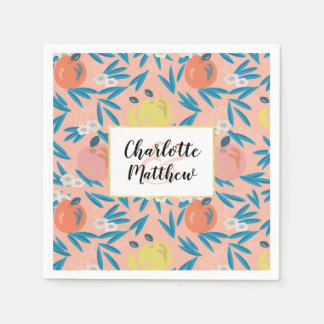 Apple Floral Coral Pink Navy Wedding Paper Napkins
