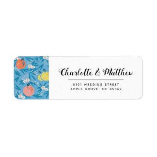 Apple Floral Sky Blue Pink Wedding Address Label