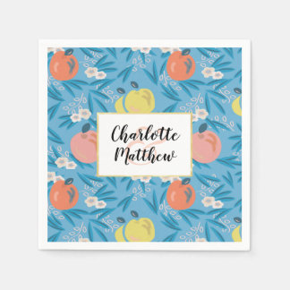 Apple Floral Sky Blue Pink Wedding Paper Napkins