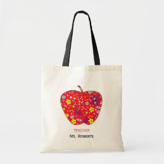 Apple For Teacher Budge Tote Bag