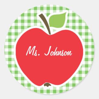 Apple for Teacher; Green Checkered; Gingham Sticker
