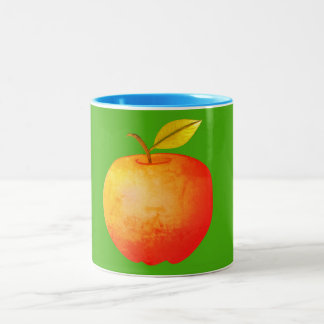 Apple Fruit Red Vibrant Cartoon Artistic Stylish Two-Tone Coffee Mug