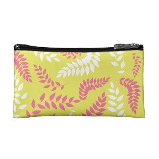Apple Green and Hot Pink Ferns Pattern Makeup Bag